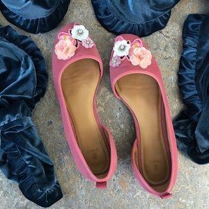Bill Blass Lola Suede Ballet Flats Shoes Floral